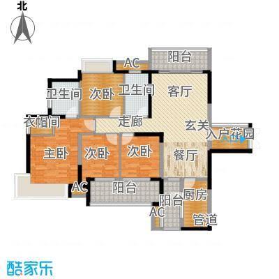 融科东南海二期139.00㎡北海1/2/3栋户型4室2厅2卫1厨