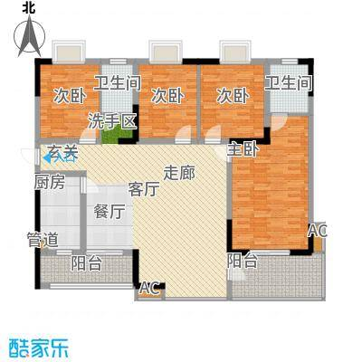 华银天际二期156.78㎡C3/C5栋户型4室2厅2卫1厨