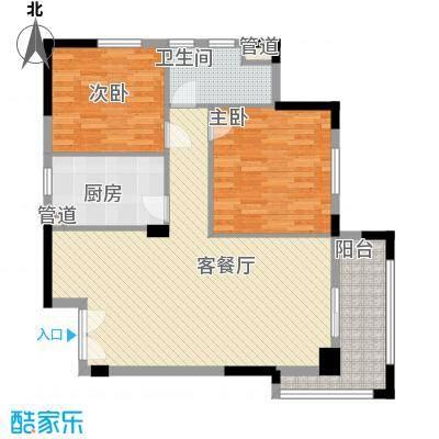 绿城桂花城110.00㎡电梯花园洋房两房户型2室2厅1卫1厨