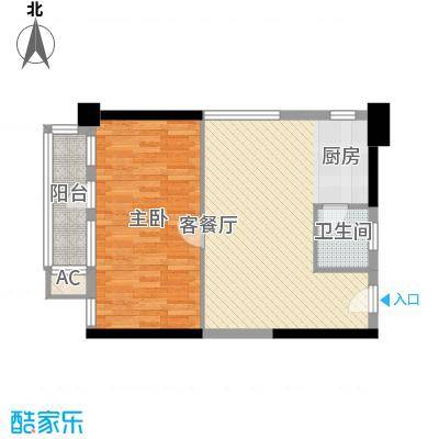 新青年公寓69.00㎡1室1厅1卫1厨户型1室1厅1卫1厨