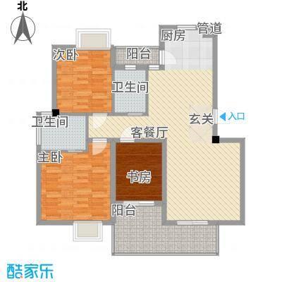 大为农博家园126.00㎡3室2厅2卫1厨户型3室2厅2卫1厨