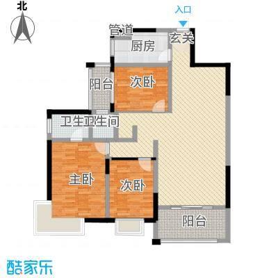 东联名园127.00㎡3室2厅2卫1厨户型3室2厅2卫1厨
