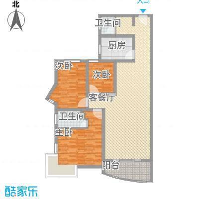 明星村135.00㎡3室2厅2卫1厨户型3室2厅2卫1厨