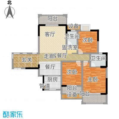 上河国际3室2厅户型3室2厅2卫1厨