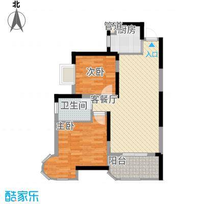永祺西京二期78.00㎡两房户型2室2厅1卫