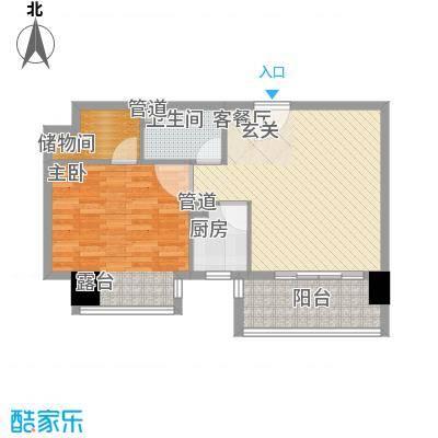 博林金谷四期73.00㎡E型博林阔寓户型1室2厅1卫