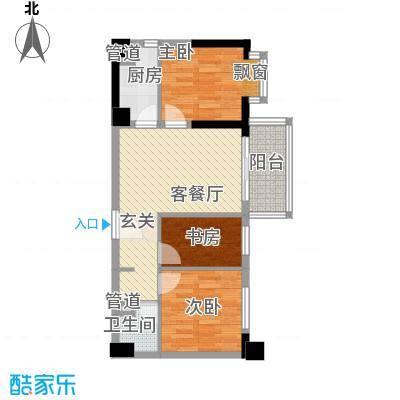 博林金谷四期77.00㎡B型博林阔寓户型3室2厅1卫