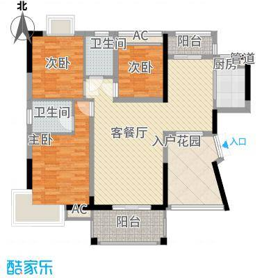 星城荣域二期101.00㎡A2户型2室2厅2卫