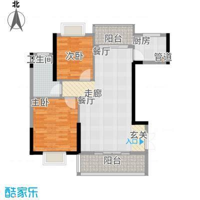 钱隆学府二期88.14㎡10号栋2-3户型2室2厅1卫