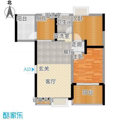 钱隆学府二期89.46㎡1栋3#、10#户型2室2厅1卫