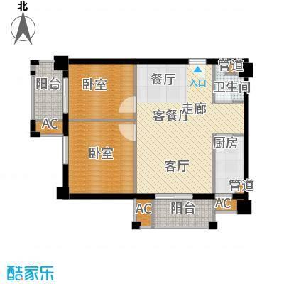 爵士湘二期79.07㎡6号栋D6户型2室2厅1卫1厨
