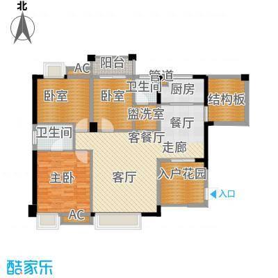 爵士湘二期114.76㎡2号栋B-3户型3室2厅2卫1厨
