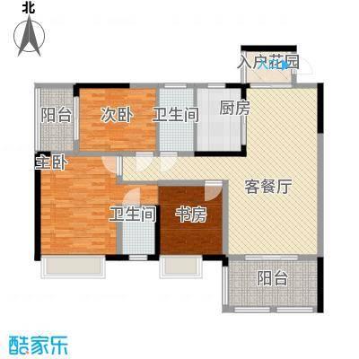 花港小区111.00㎡2栋C-3户型3室2厅2卫1厨