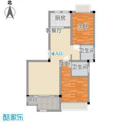 花港小区92.00㎡3栋B-2户型2室2厅2卫1厨