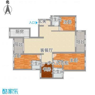 景江雅苑170.00㎡四室两厅一厨一卫户型4室2厅2卫2厨