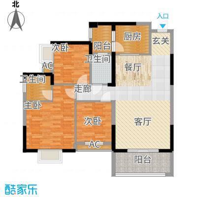 钱隆樽品二期121.28㎡8栋0304#户型3室2厅2卫1厨