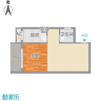 天翔城市公馆1室1厅户型1室1厅1卫1厨