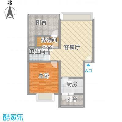 名城一室一厅一厨一卫户型1室1厅1卫1厨