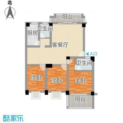 明天世纪广场三室两厅一厨两卫户型3室2厅2卫1厨