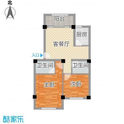 明天世纪广场两房两厅两卫户型2室2厅2卫1厨