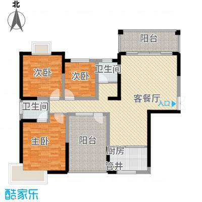金霞湘绣园129.50㎡1-01户型3室2厅2卫