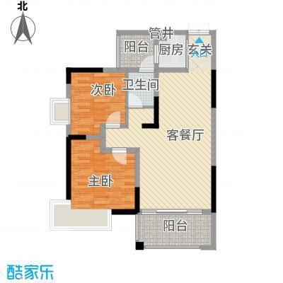 金霞湘绣园86.29㎡2-04户型2室2厅1卫