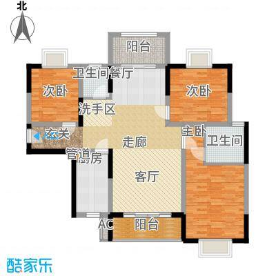 华银天际二期127.34㎡C1/C8栋户型3室2厅2卫1厨