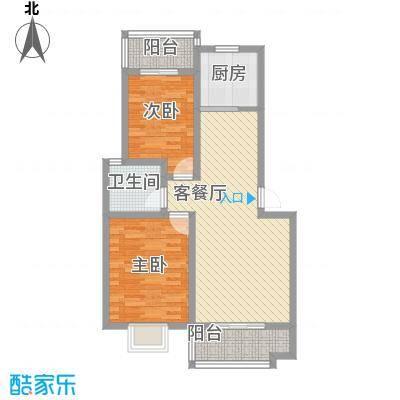 天赐良园90.00㎡2室2厅1卫1厨户型2室2厅1卫1厨