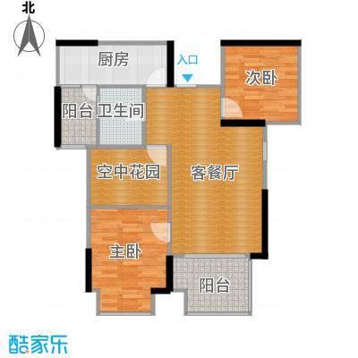 旭辉华庭88.85㎡1-2-3-6号栋E户型2室1厅1卫1厨