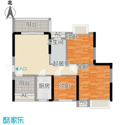 豪庭89.00㎡02户型3室2厅1卫1厨
