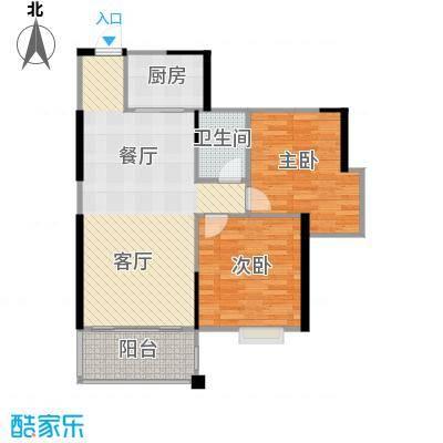 博雅湘水湾87.54㎡8-9栋户型2室1厅1卫1厨