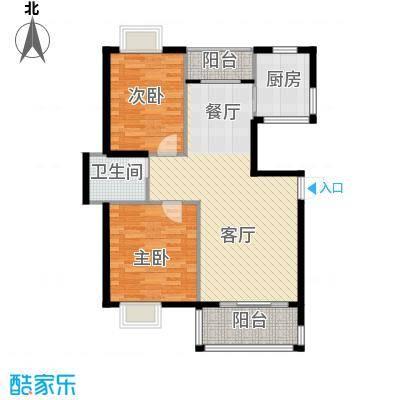 博雅湘水湾95.48㎡6栋1号户型2室1厅1卫1厨