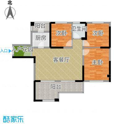 筑梦佳园94.00㎡7-8栋02-05号户型3室1厅1卫1厨