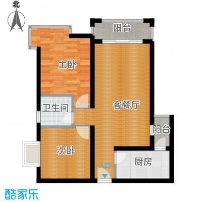 凯旋帝景69.15㎡户型2室1厅1卫1厨