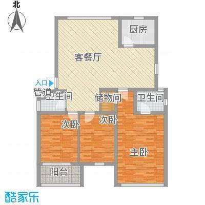 金利苑户型图D型 3室2厅2卫1厨