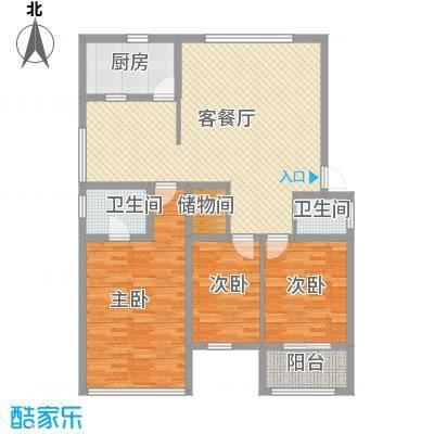 金利苑户型图C型 3室2厅2卫1厨
