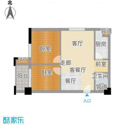 爵士湘二期75.90㎡6号栋D1户型2室2厅1卫1厨