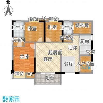爵士湘二期119.20㎡1号栋C-1户型3室2厅2卫1厨