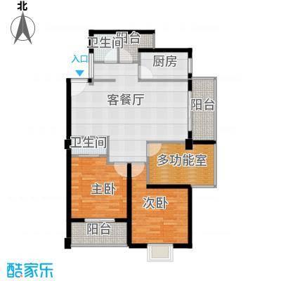 财富广场108.20㎡B1户型2室1厅2卫1厨