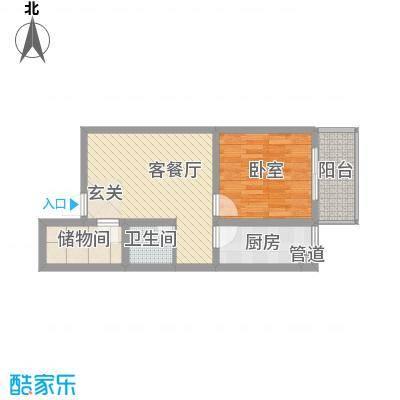 紫东公寓51.29㎡H户型1室2厅1卫1厨
