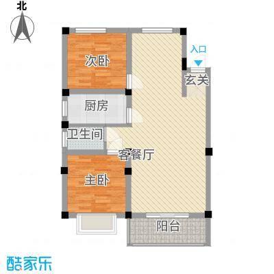 紫东公寓78.20㎡L户型2室2厅1卫1厨