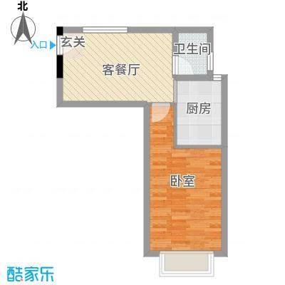 紫东公寓45.84㎡M户型1室1厅1卫1厨