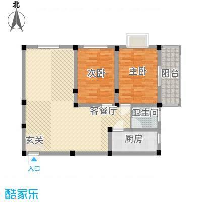 紫东公寓73.89㎡J户型2室2厅1卫1厨
