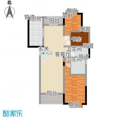 富兴嘉城一期141.04㎡c-2栋户型3室2厅2卫