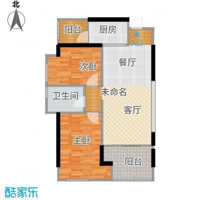 旭辉华庭77.91㎡1-3-4-5-6号栋D户型2室1卫1厨