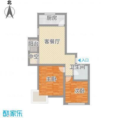 北阳新第88.92㎡北阳新第户型图一期F1户型图2室2厅1卫户型2室2厅1卫