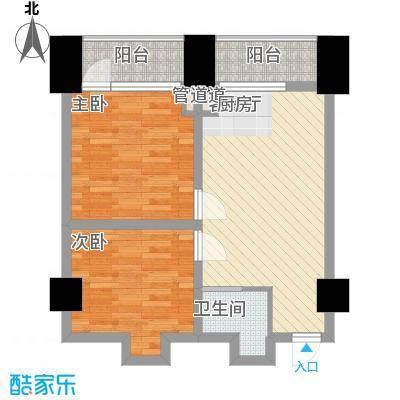 中金名筑77.54㎡高层户型4户型2室1厅1卫