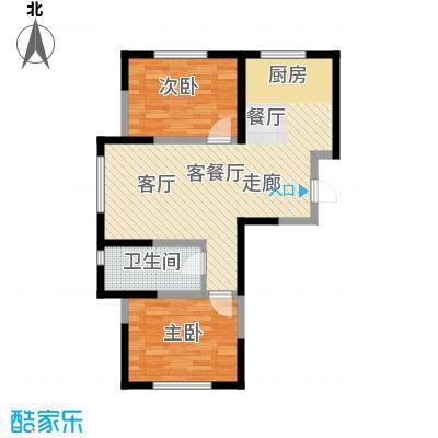 中顺福苑75.33㎡中顺福苑户型图彩色户型A12室2厅1卫1厨户型2室2厅1卫1厨