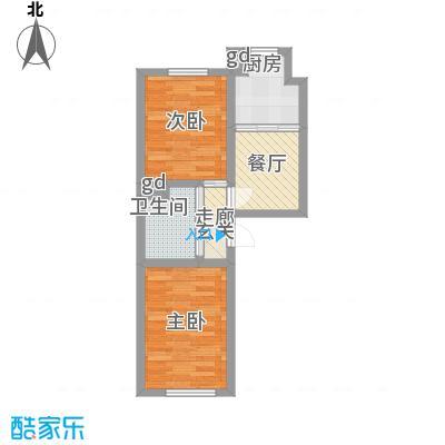 万龙名城58.62㎡一期C户型2室1厅1卫