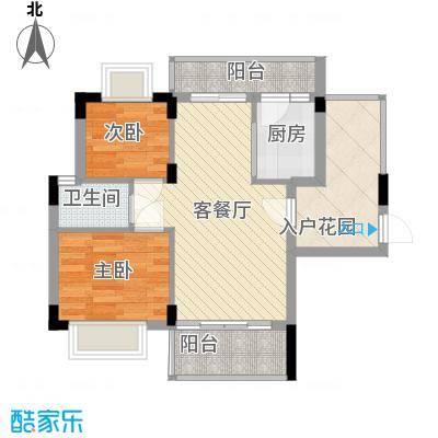 梦云南雨林澜山73.29㎡高层D户型1户型2室2厅1卫1厨